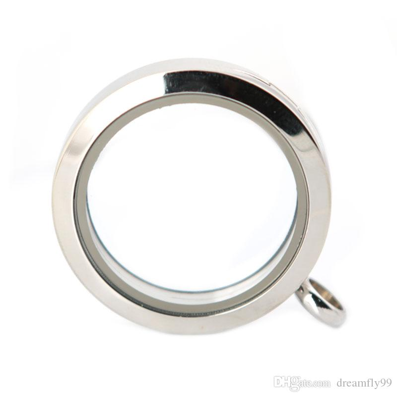 30mm magnet plain stainless steel Memory living glass locket pendant , glass locket floating charms for floating charms