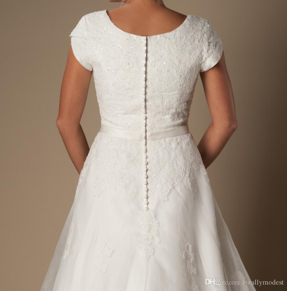 Vintage Elfenbein Spitze Organza bescheidene Brautkleider mit Kappenärmeln A-Line Kurzarm Frauen Tempel Ceremoney Brautkleider