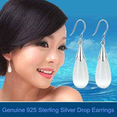 Luxury big opals dangling earrings 925 sterling silver Fashion bridal/Wedding dangle brinco prata Jewlery gift for girls 0086