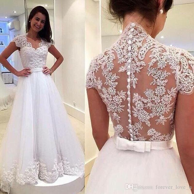 Discount Stunning A Line Wedding Dresses V Neck Capped Short Sleeves Beaded  Lace Appliques Illusion Back Tulle Bridal Gowns Sweep Train Bow Sash Wedding  ... 0a3cbfe79b48