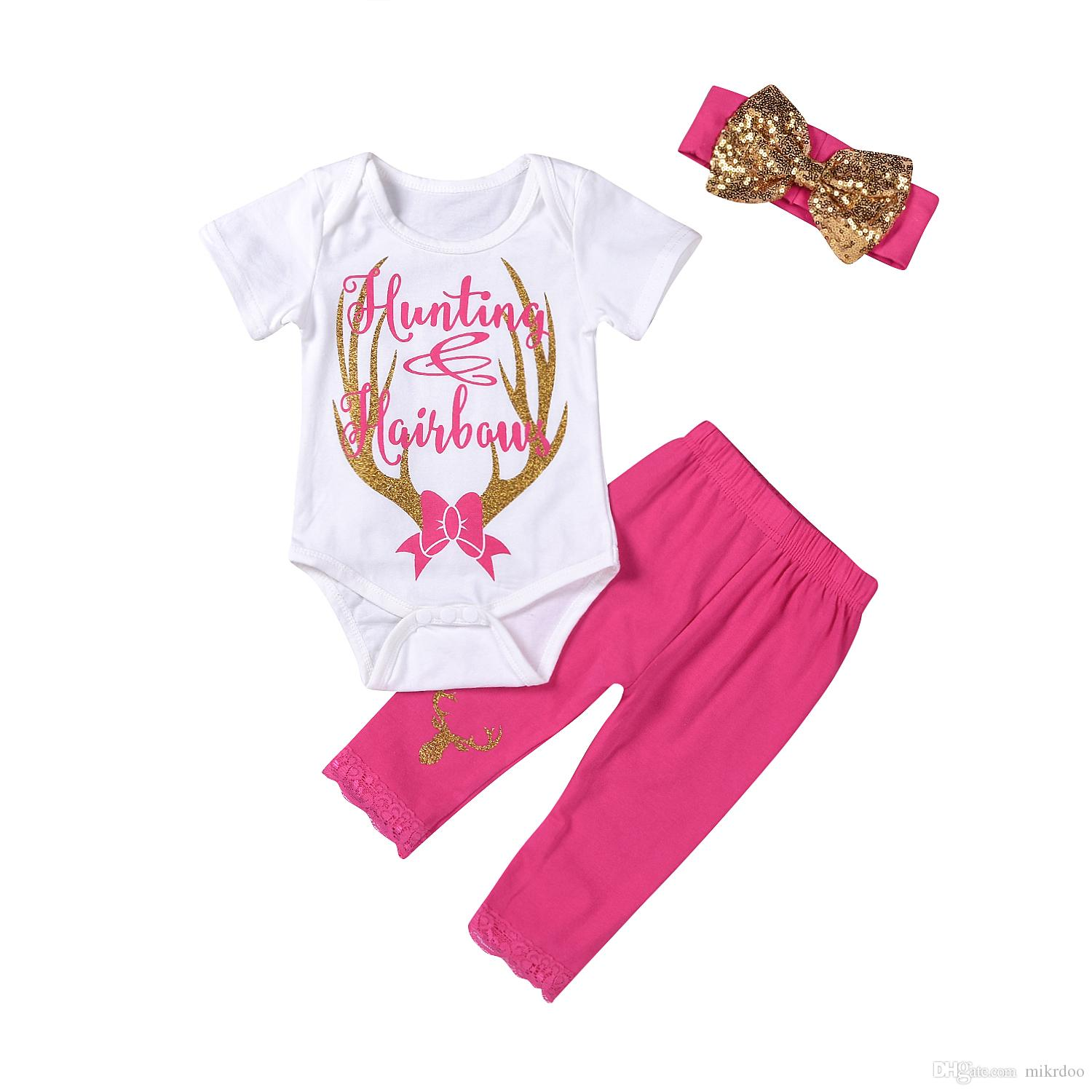 05ef89b30 2019 Mikrdoo Baby Hot Christmas Clothes Suits Kids Girl Deer Hunting Romper  Pink Lace Pants Headband Outfits Sweet Top Cotton Cute Set 0 24M From  Mikrdoo, ...