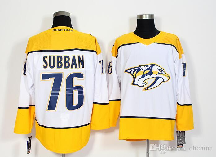 size 40 34436 193e3 New Predators Jersey #76 Subban 2017 New Hockey Jerseys White Yellow Color  Size M-XXXL Mix Order High Quality Football All Jerseys