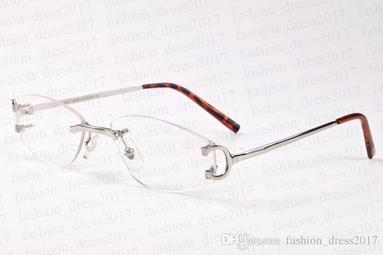 Marke Luxus Sonnenbrille für Männer Platz klar Objektiv Büffel Horn Brille Randlos Rahmen übergroßen Vintage Gold Silber Metall Sonnenbrille