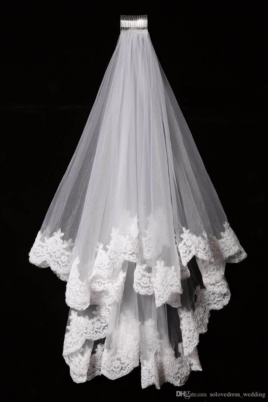 Blanc élégant / ivoire Deux couches Tulle Net Tulle Mariée Vidon 1.5M Court Court Dentelle Veil de tulle pour mariage SLV002