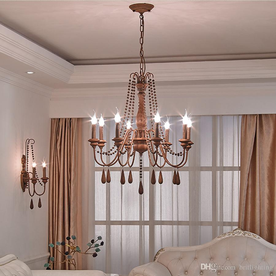 American crystal droplight sitting room candle lights Nordic country contracted led bedroom restaurant wrought iron Chandeliers hotel lamps