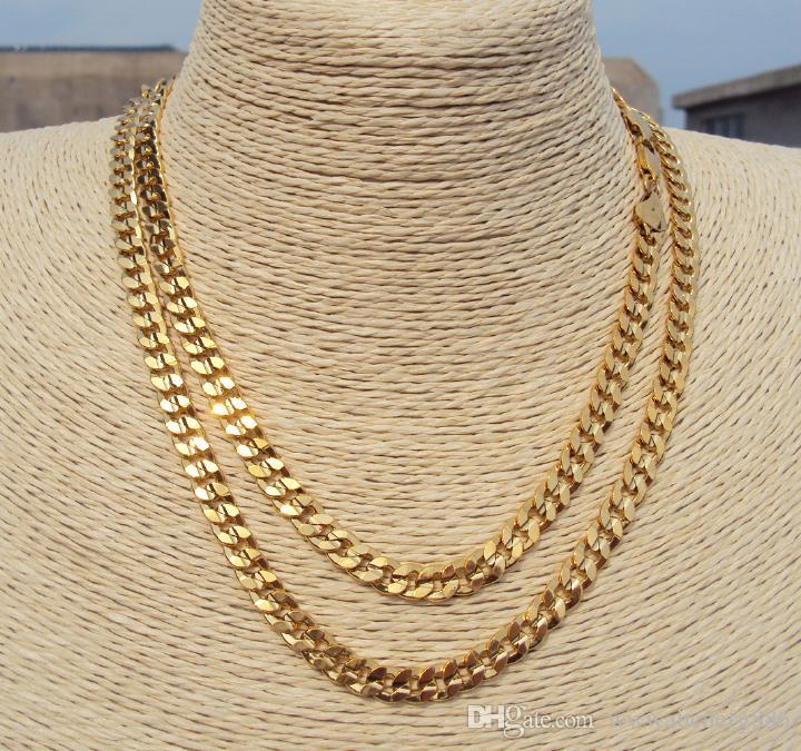 inches link chain yellow miami cuban mens chains mm gold