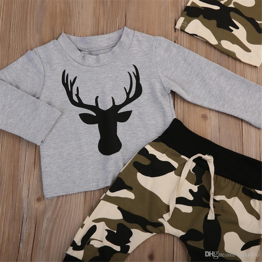 Mikrdoo 2017 Baby Christmas Suits Grey Deer T Shirt Camouflage Long Pants Hat Sets Kids Boys Girls Cotton High Quality Clothes Outfits