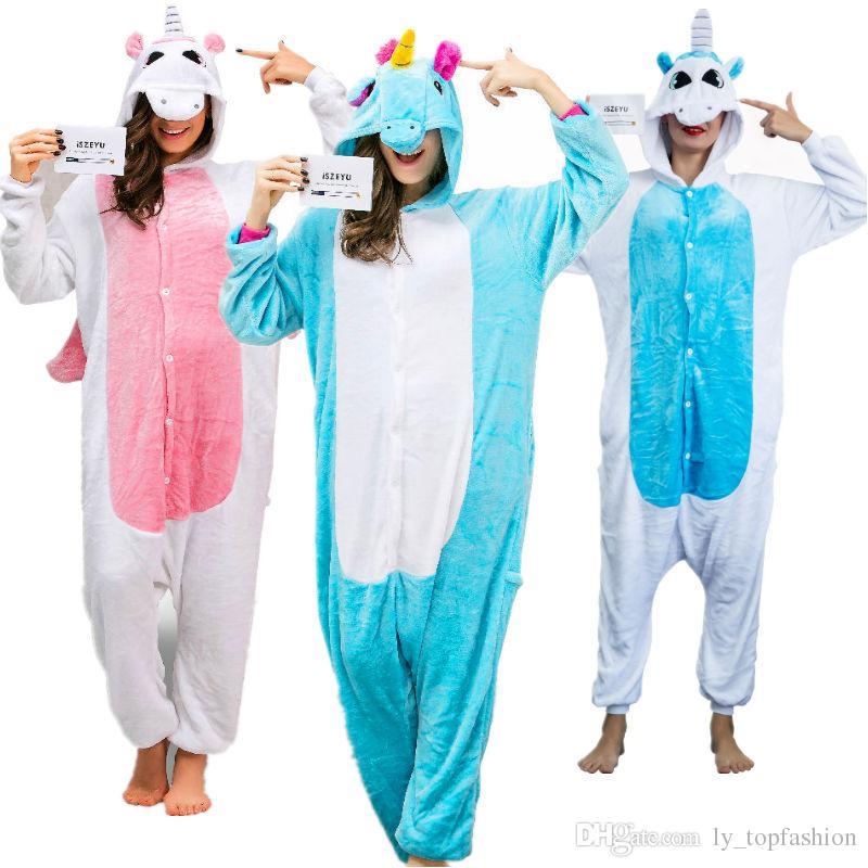 Satın Al Unicorn Onesie Yetişkin Pijama Pijama Cosplay Cadılar Bayramı  Kostümleri Hayvan Onsie Kadınlar Erkekler Için Pembe Mavi Sleepsuit Unisex f9779db65