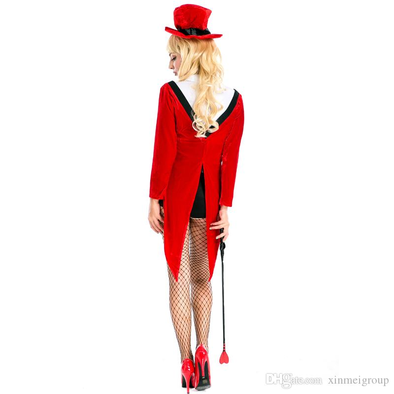 Sexy Red Magician Costume for Women Halloween Animal Trainer Tailcoat Carnival Fantasy Cosplay Long Sleeve Tuxedo Mage Outfits A158635