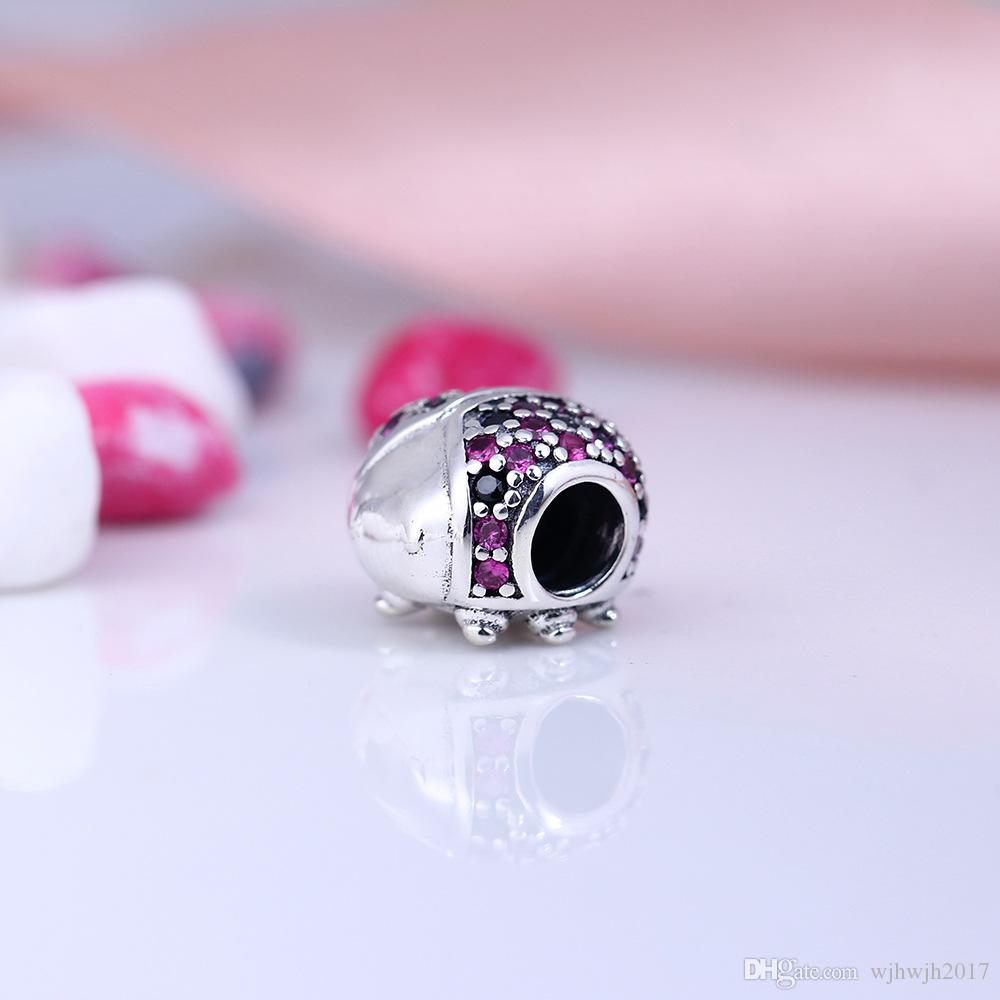 New Ladybird Beads With Red & Black Crystal Pave Animals Bead 925 Sterling Silver Fine Jewelry Fits European Bracelets DIY Making HB142