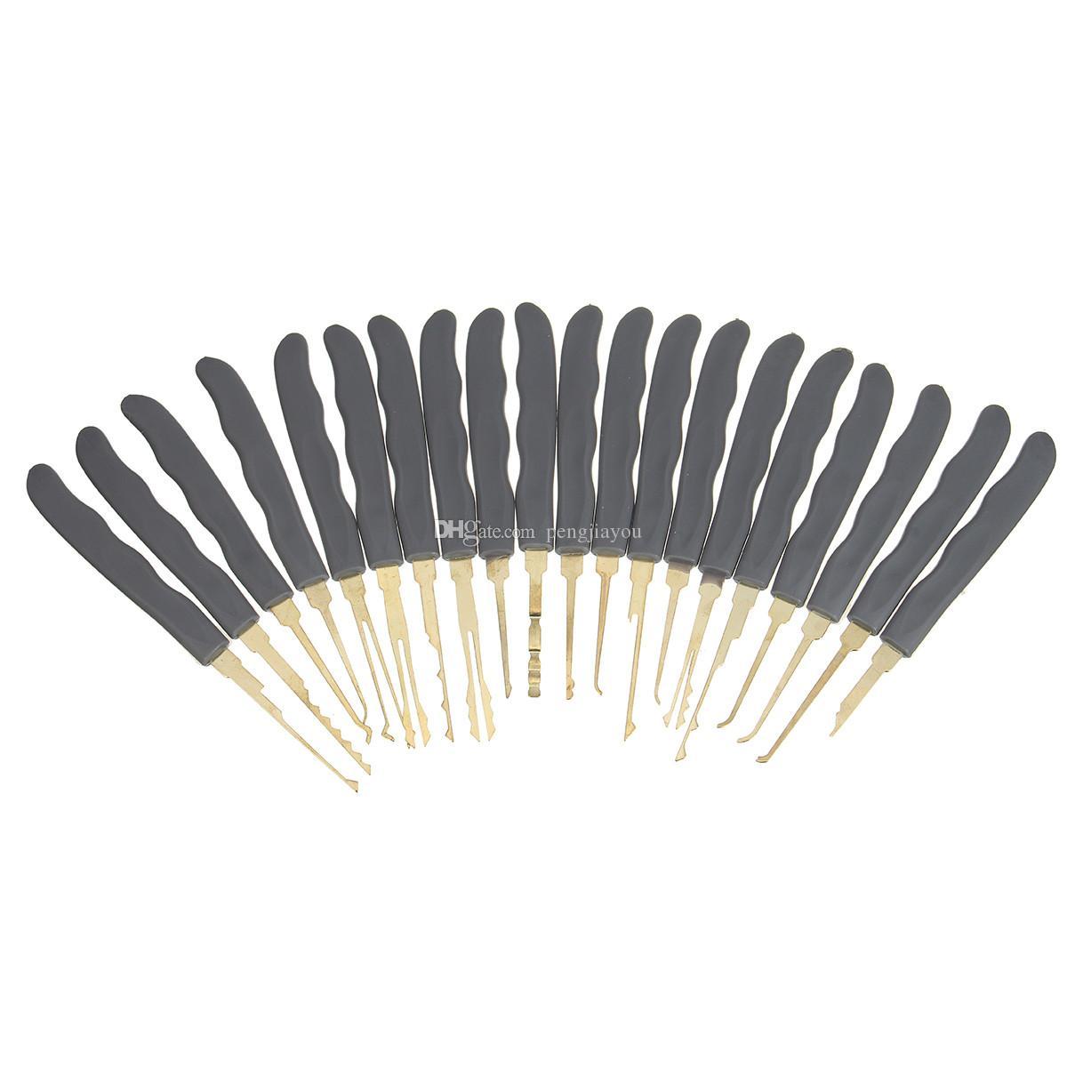 Acciaio inossidabile di alta qualità GOSO Lock Picks Lockpick Locksmith Fast Lock Opener con borsa in pelle + Lucchetto trasparente pratica Lock