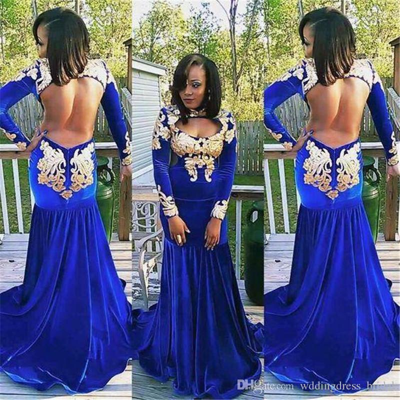 2019 Royal Blue Sexy espalda abierta sirena vestidos de baile cuello alto negro niñas mangas largas de terciopelo vestido de noche barato largo vestidos de fiesta formales