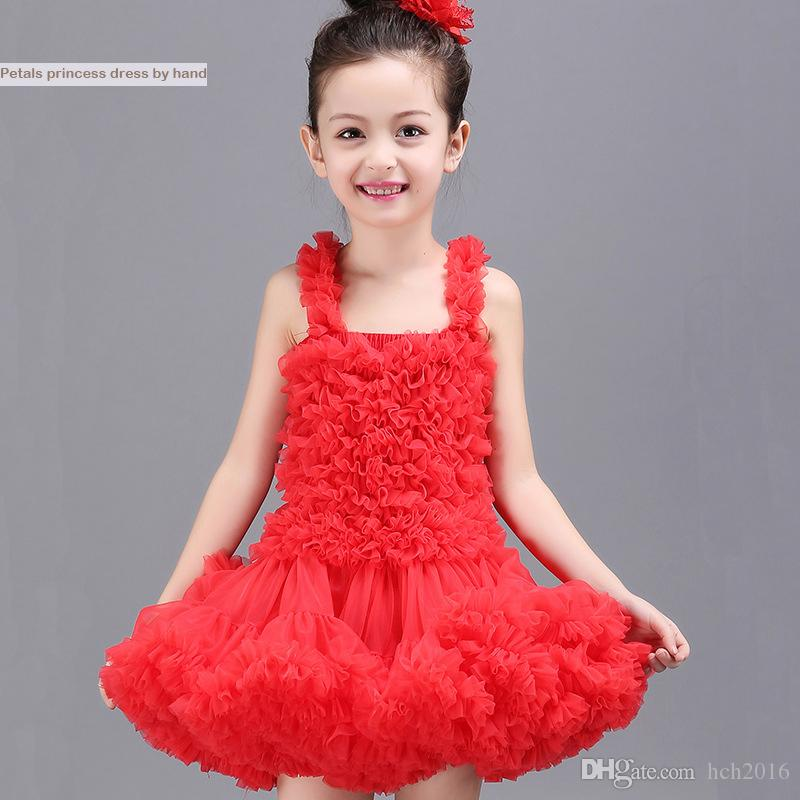 Baby & Kids Clothing Girls' Dresses wedding flower girl 2018 vintage Costume Tutu Child skirts party gowns Tulle red white pageant dress