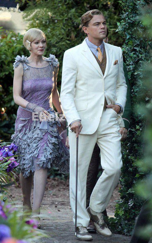 Wholesale The Great Gatsby Movie Beige Groom Tuxedos Men Wedding Suits Mens White Wedding Dresses Professional Cut Lover Trajes De Novio