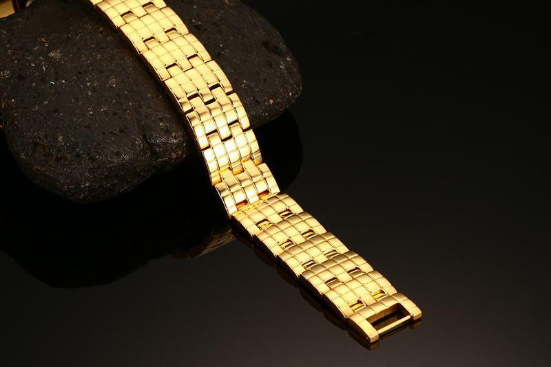 Refined 21.5CM Length Magnetic Bracelet Bangle Gold Color Men's Stainless Steel Care Health Bracelets B876S
