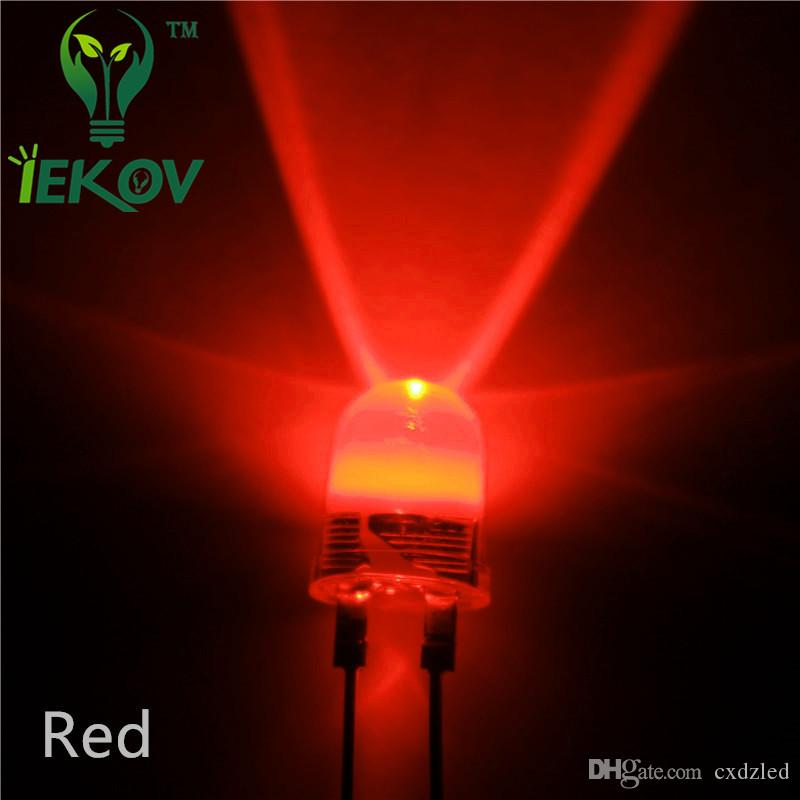 500 pçs / lote 10mm Vermelho 0.5 W de Alta Potência LEVOU Luz 190Kmcd rodada top Ultra Brilhante 10 MM Emissor de Diodos Levou Lâmpada Atacado Varejo