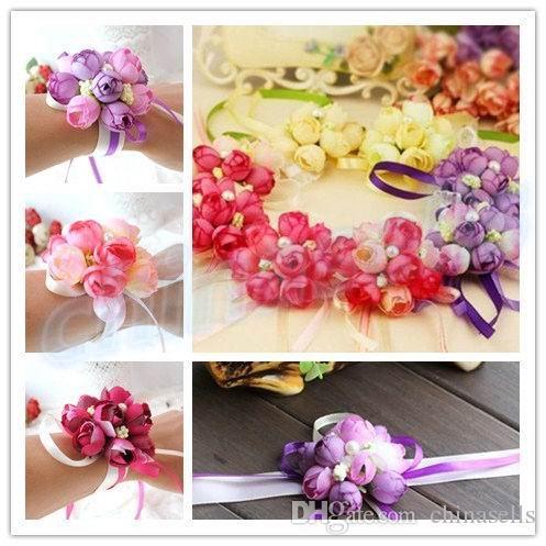 Bridesmaid Bride Wedding Supplies Hand Flower Silk Rose Bride Wrist corsage Flowers hotel Wedding Decoration party Festive supplies Wreaths
