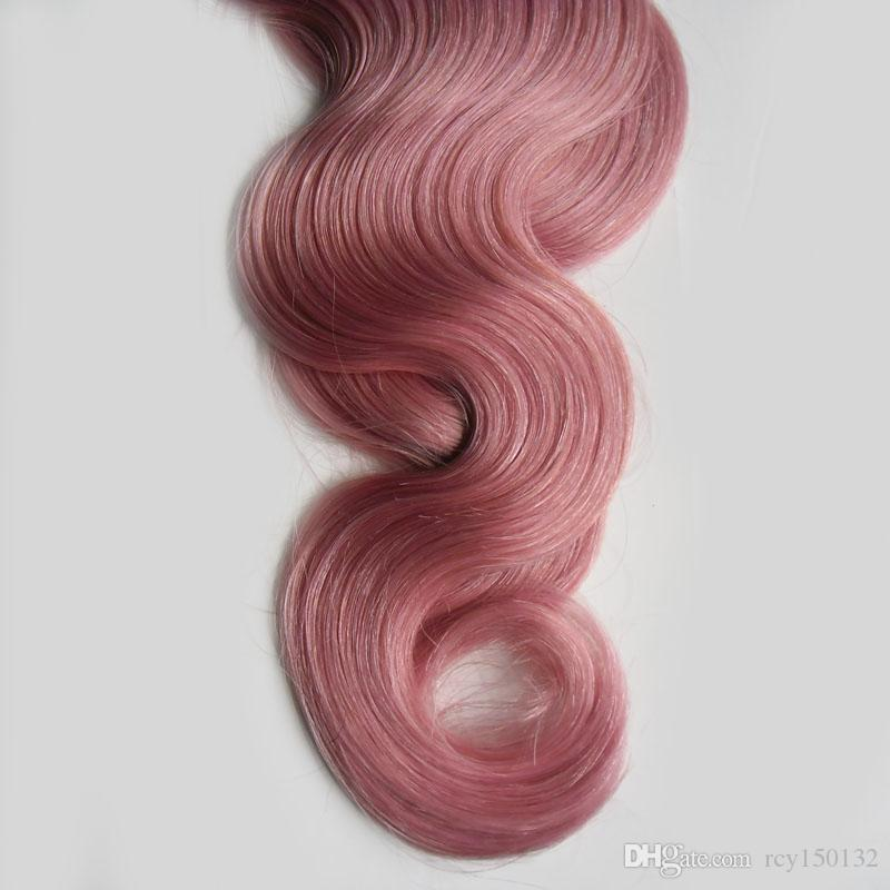 ري أومبير شعرة الإنسان الشريط في الشعر موجة الجسم 100 جرام 40 قطع # 1b / الشريط الوردي أومبير في الشعر