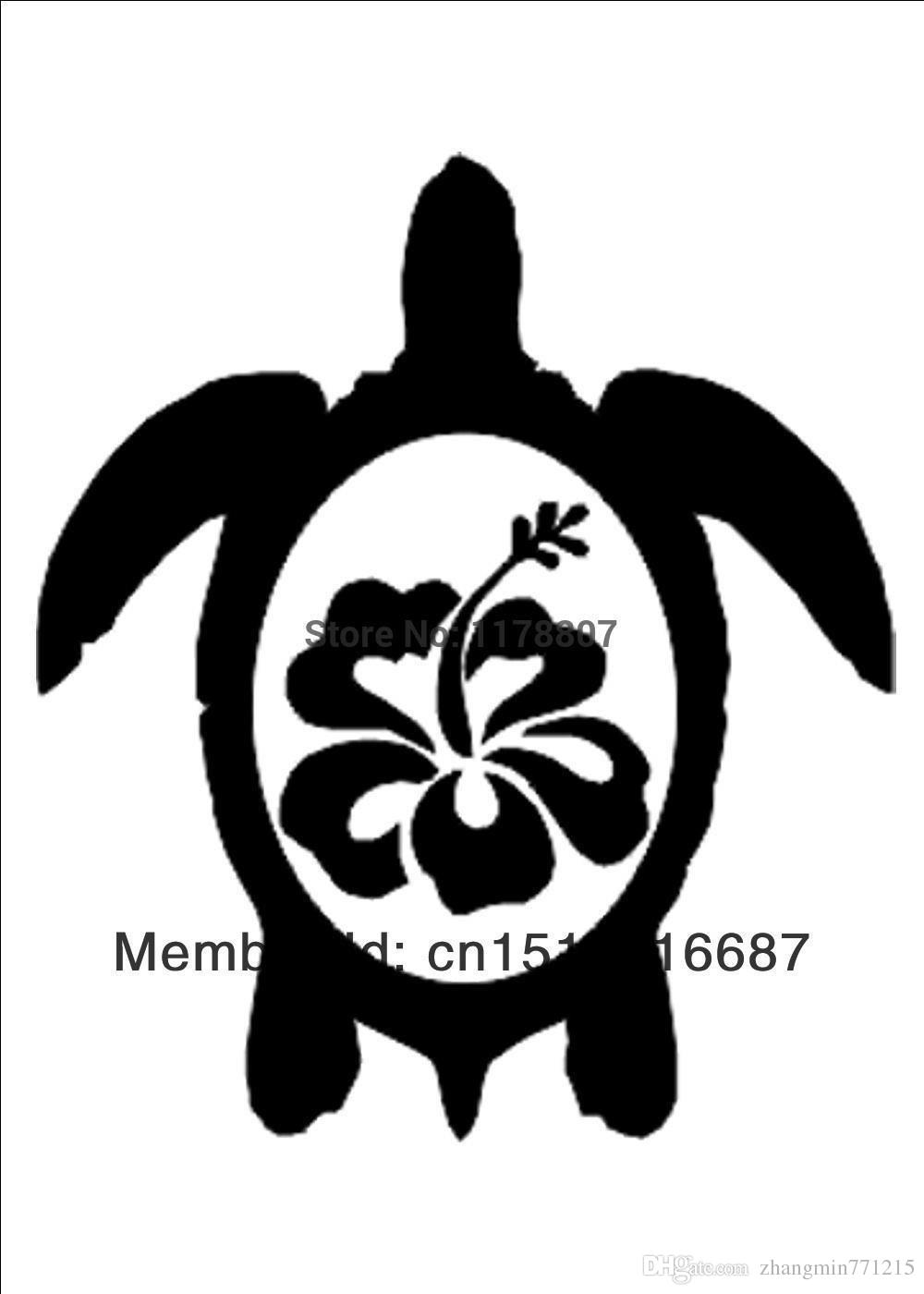 Wholesale Decorations Automobile Motorcycle Vinyl Decal Car Glass window Stickers Jdm Hawaiian Sea Turtle With Hibiscus Sticker
