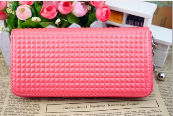 Designer Damen Reißverschluss PU Leder Geldbörse Geschenke Clutch Grid Anhänger Karte Geldbörse Lange Handtasche Bonbonfarben Auch Lady Bag Hohe Qualität Marke