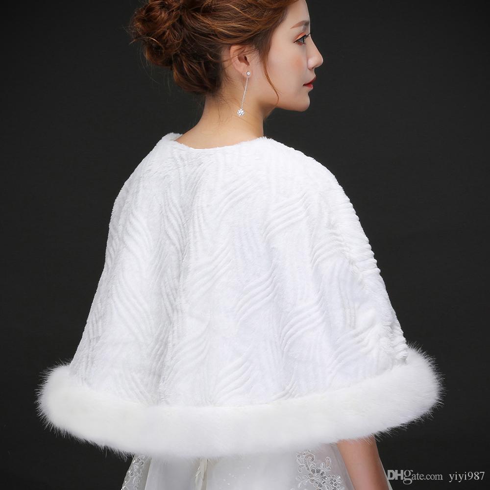 Real photos White Moden Faux Fur Wedding Jacket Warm Bridal Bolero Wedding Jacket Coats Bridal Wraps Wedding Cape Cloak