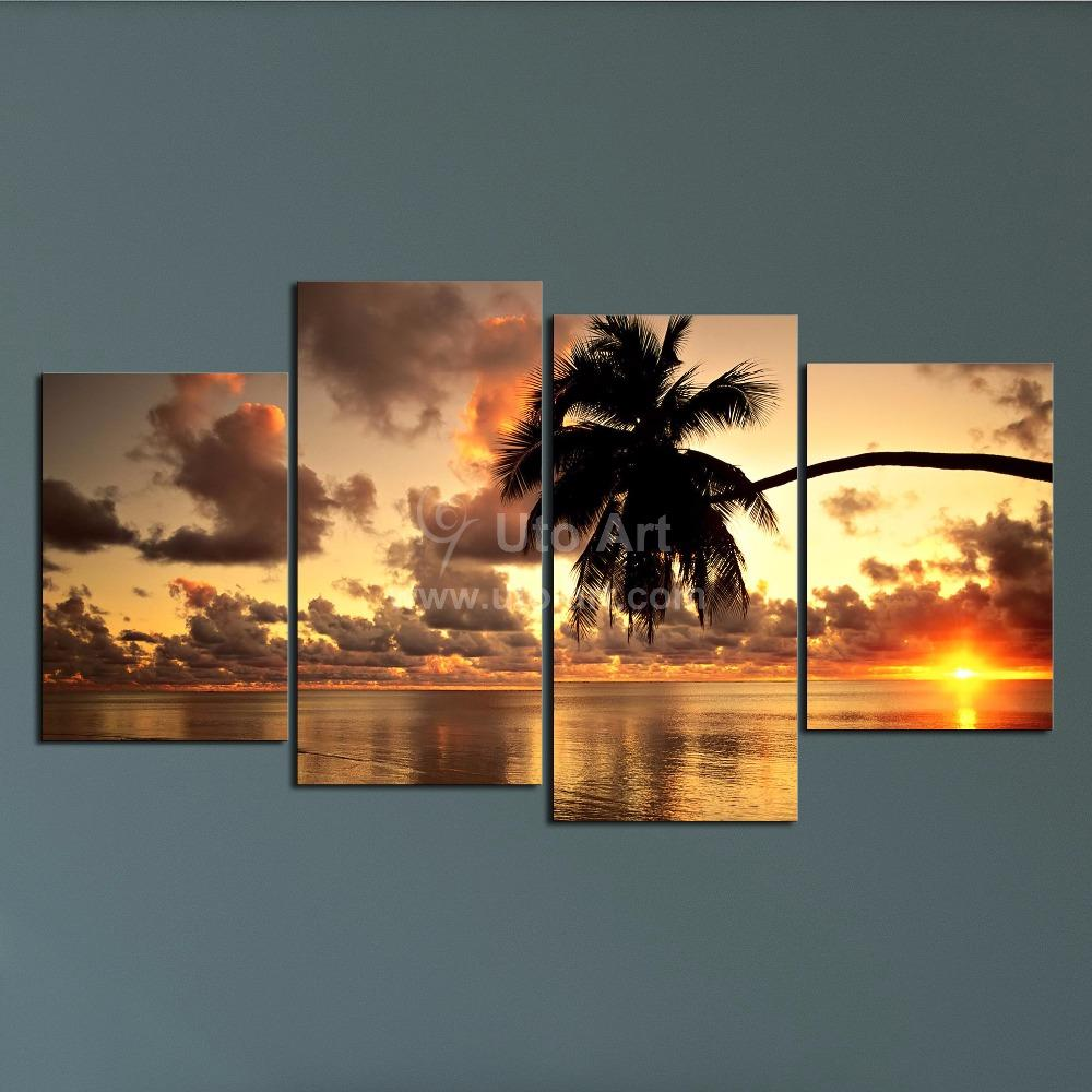 2018 modern unstretched wall decor printed painting landscape hwaii