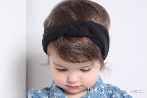 12 컬러 키즈 아기 소녀 헤어 액세서리 헤드 밴드 어린이 헤어 밴드 새로운 사랑스러운 아기 탄성 포스 코튼 매듭 머리 헤어 액세서리