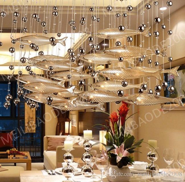 Be33 modern led vidro conhaque cor peixe voador lustres sala de jantar bar luzes pingente de cristal lâmpadas de teto para sala de estar do hotel lobby
