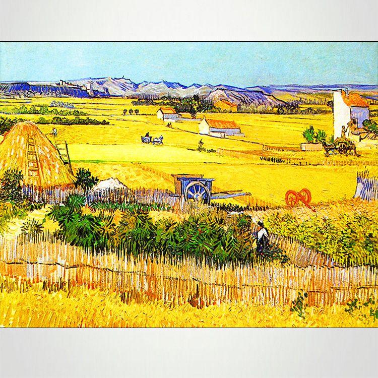 Handpainted Impressionist Landscape Canvas Painting Harvest Van Gogh Oil Painting Reproductions quadro pintura sem moldura Art
