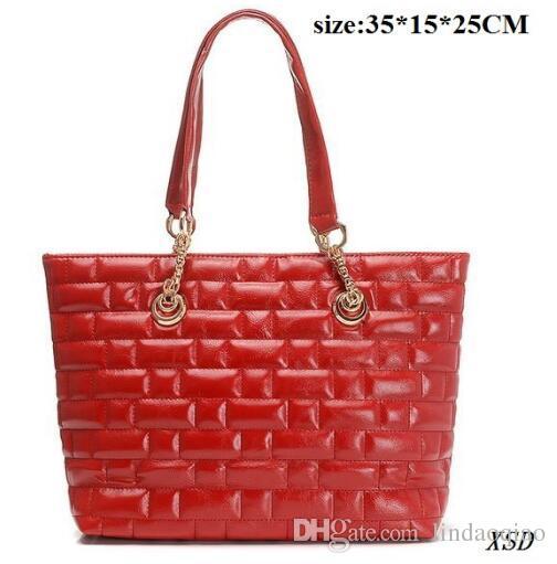 New Red Shinny Leather Bag Handbag Famous Brand Name Purse Luxury Branded Handbags Cheap Tote bag Designer Brand Chain Bag