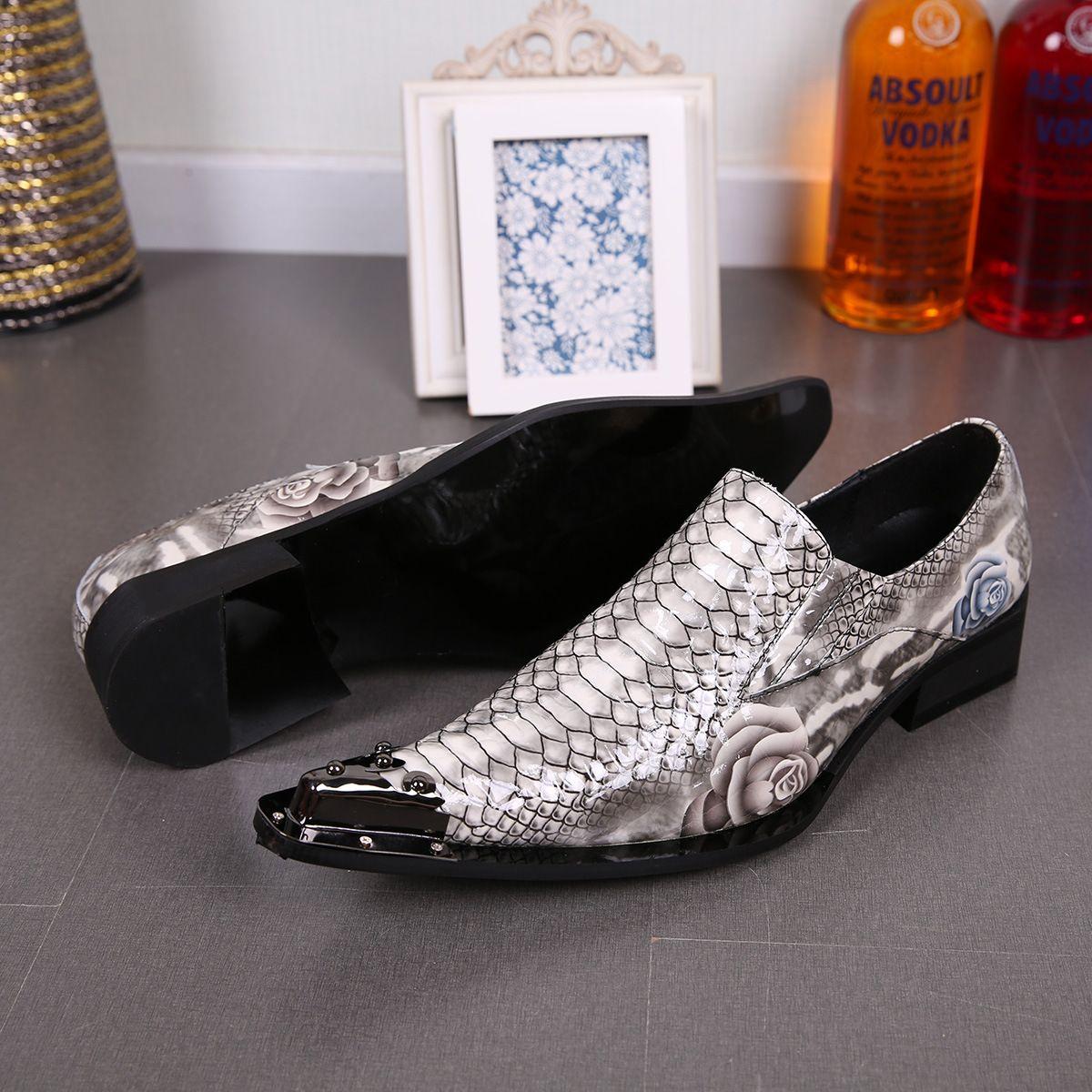Italy leather snake skin shoes men men's slide shoe designer Sapatos Masculino groom wedding shoes party shoes