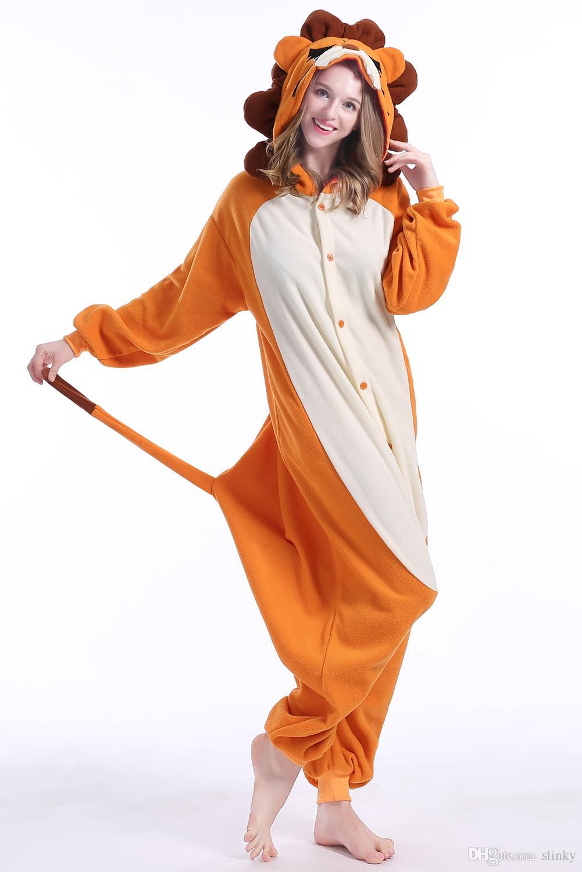 Lion Stock Warm Unicorn Kigurumi Pajamas Animal Suits Cosplay Halloween Costume Adult Garment Cartoon Jumpsuits Unisex Animal Sleepwear