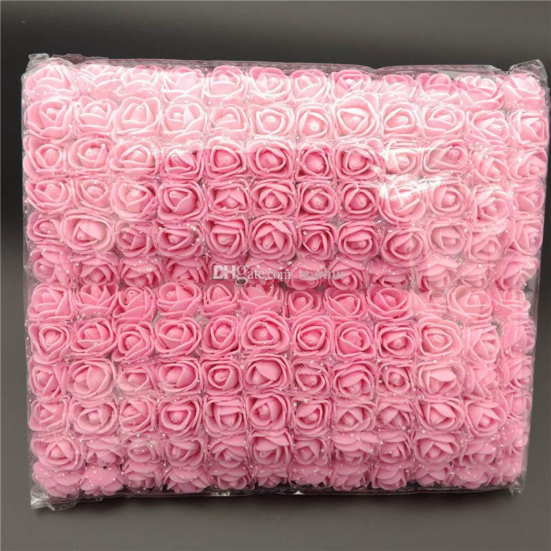 / Lote Flores Artificiais Mini Espuma Rosa Rose Bouquet Jardim Festa de Casamento Decoração Simulação Flower Head Presente de Natal WX9-71