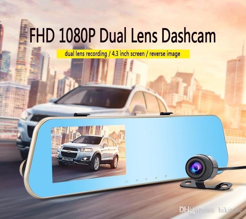 hkt26 كامل hd 1080 وعاء مرآة سيارة dvr عدسة مزدوجة 4.3 بوصة الجبهة الخلفية للرؤية الليلية كاميرا الرؤية الخلفية مسجل فيديو a ++