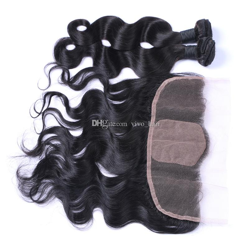 Silk Base Lace Frontal 13x4 With Bundles Virgin Peruvian Human Hair With Silk Base Frontals Body Wave Weaves With Frontals
