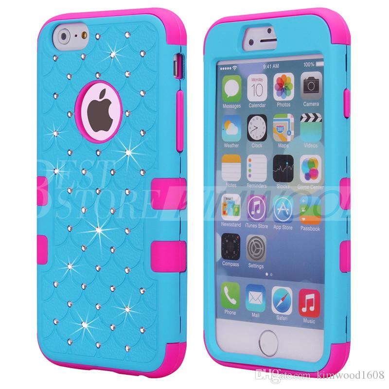 Defender Hard Back Phone Case For iPhone 6 6S 7 Plus Slim Luxury Bling Diamond Hybrid PC Soft Bumper Silicone Waterproof Shockproof Cover
