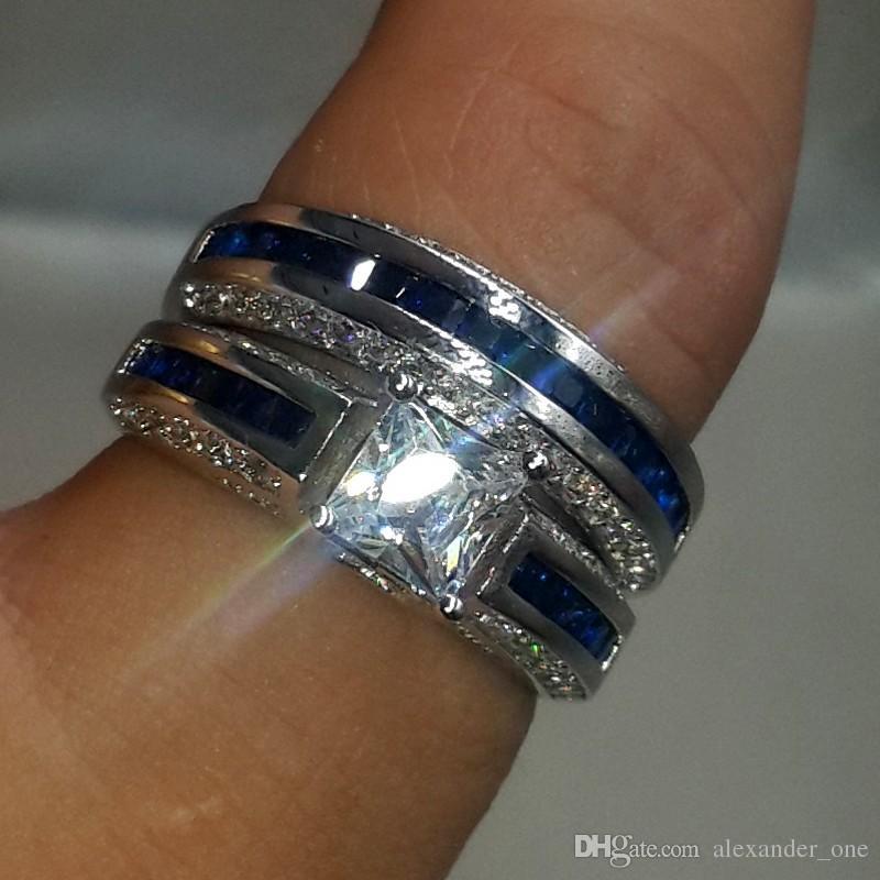화이트 골드 10캐럿 도매 패션 보석 공주 컷 청이 시뮬레이션 다이아몬드 CZ 보석은 여성의 칵테일을위한 웨딩 밴드 링 세트 작성