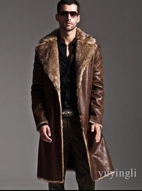 8fdabda20e92e Brown warm faux fox fur rabbit fur coat mens leather jacket men coat villus  winter loose thermal Wear on both sides outerwear