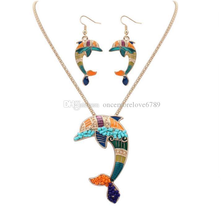 Lovely Dolphin Jewelry Sets Unique Design Statement necklace Multicolor Necklace & Earring Sets For Women bridal Free ship
