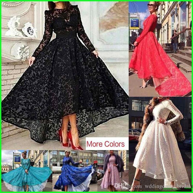 Nach Maß Spitze Long Sleeves Schwarz Abendkleider 2019 Sheer Jewel Neck Hallo Low Prom Kleid Arabisch Promi Party Kleider Vestidos