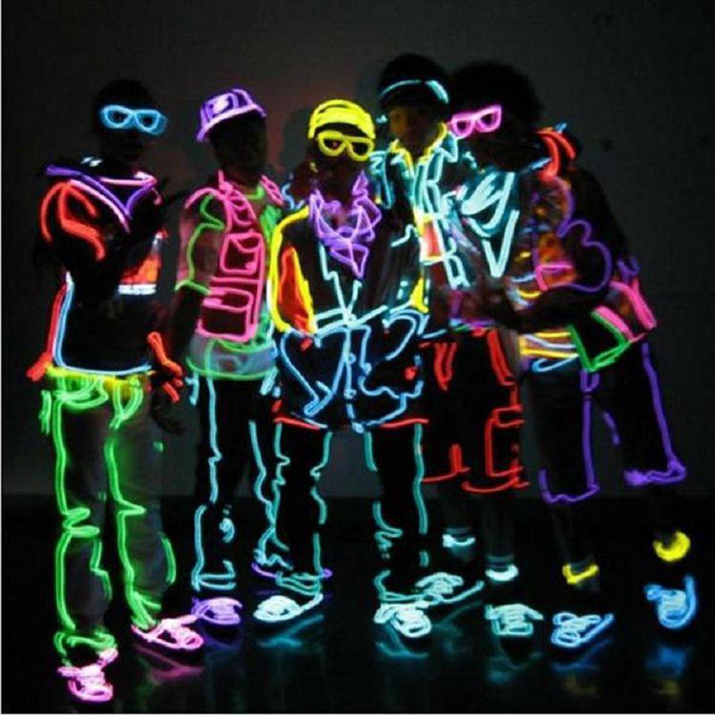 Wholesale 1m Multicolor Flexible El Wire Rope Tube Crazy Neon ...