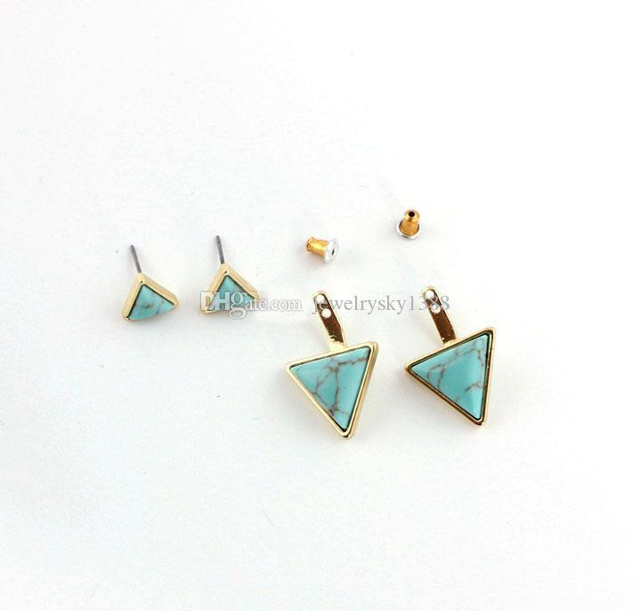 Moda naturale pietra bianca turchese orecchini placcato oro triangolo geometria della pietra preziosa orecchino della vite prigioniera i monili delle donne