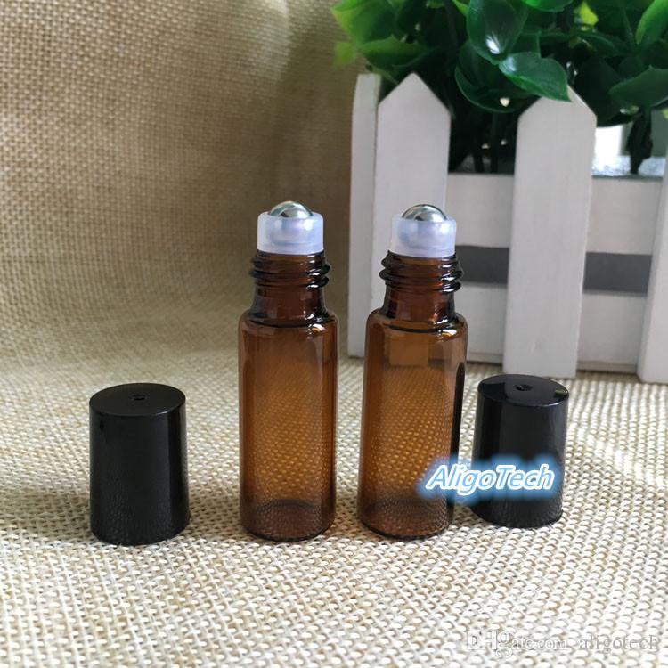Wholesale Empty 5ml Perfume Sample Roll Bottles Glass Bottle Roller Metal Bottle 5 ml Essential Oil Roller Ball Bottles DHL