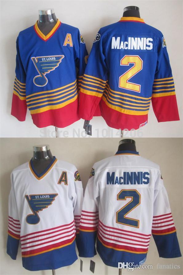 Discount Sanit St. Louis Blues #2 Al Macinnis Jersey Throwback Ccm Vintage  Worn Jersey Royal Blue White Away Road Old Time Hockey Jerseys From China  ...