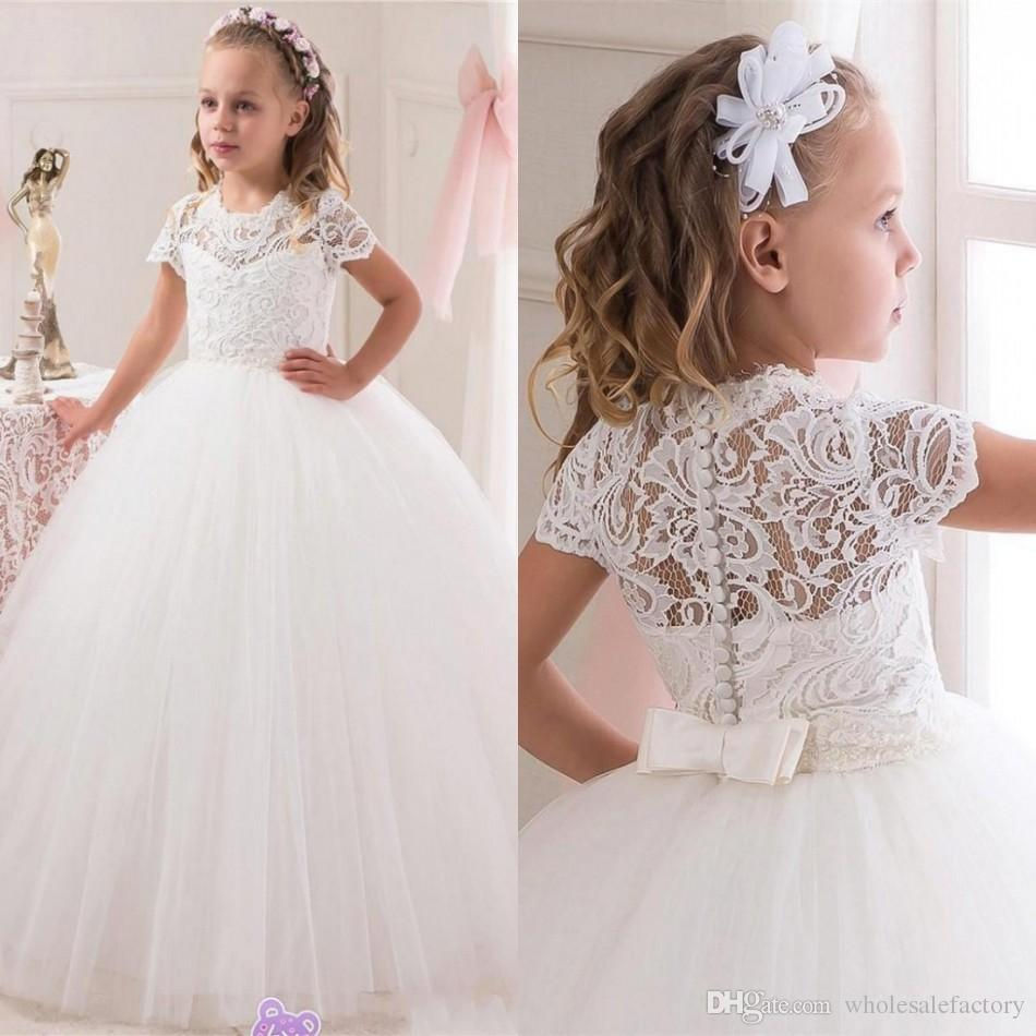 Communion Ball Gown Flower Girls Dresses For Weddings Tulle Little ...