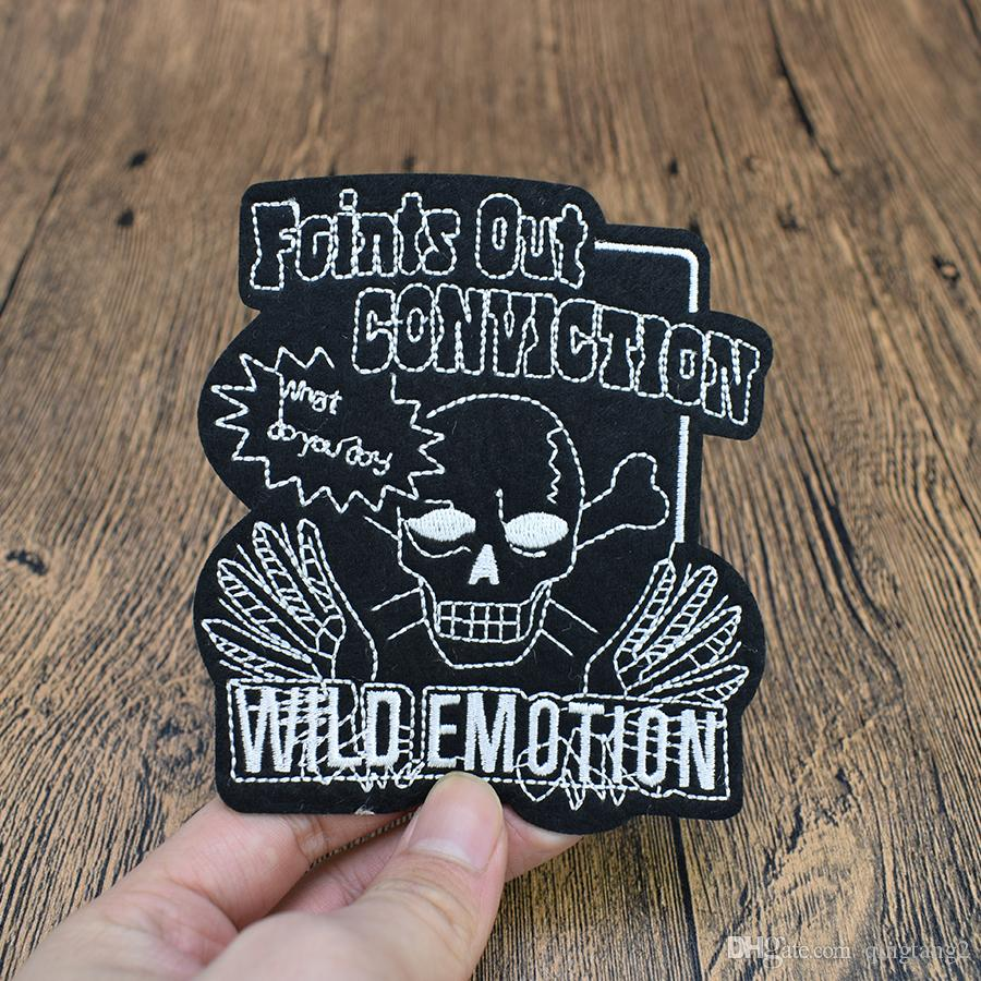 black skull embroidery patches for clothing iron patch for clothes applique sewing accessories stickers badge on cloth iron on patches