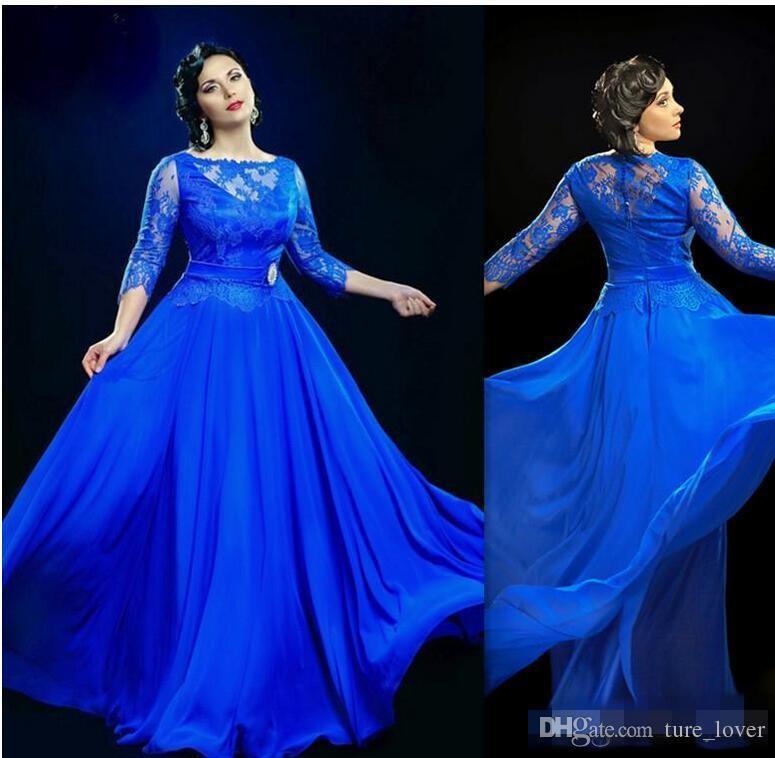 Abiti da sera trasparenti eleganti blu royal di design con abiti da ballo lunghi a maniche a 3/4 Abiti da ballo plus size UK donne grasse
