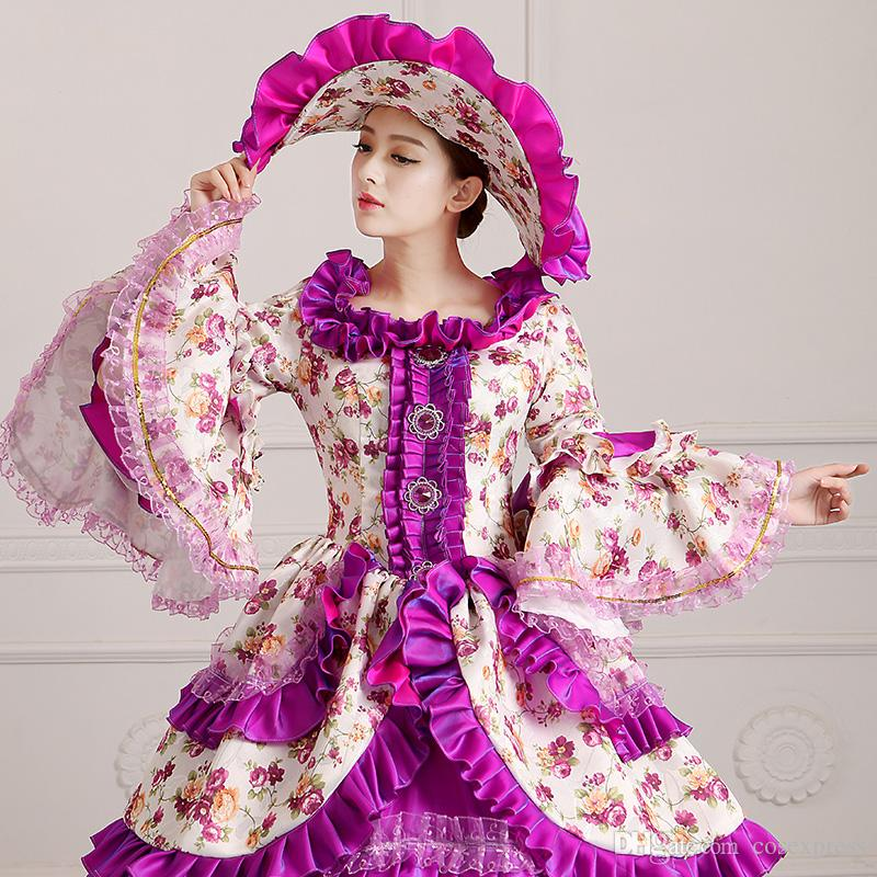 Elegant Purple Floral Palace Medieval Period Victorian Dress Retro Marie Antoinette Masquerade Ball Gowns Rococo Costumes