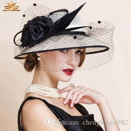 272e382573c Women Church Hats Women Dress Hats Derby Church Hats 100% Polyester Satin  Ribbons Two Colors Available Wide Brim Hat Tea Party Hats From  Chenglong1982