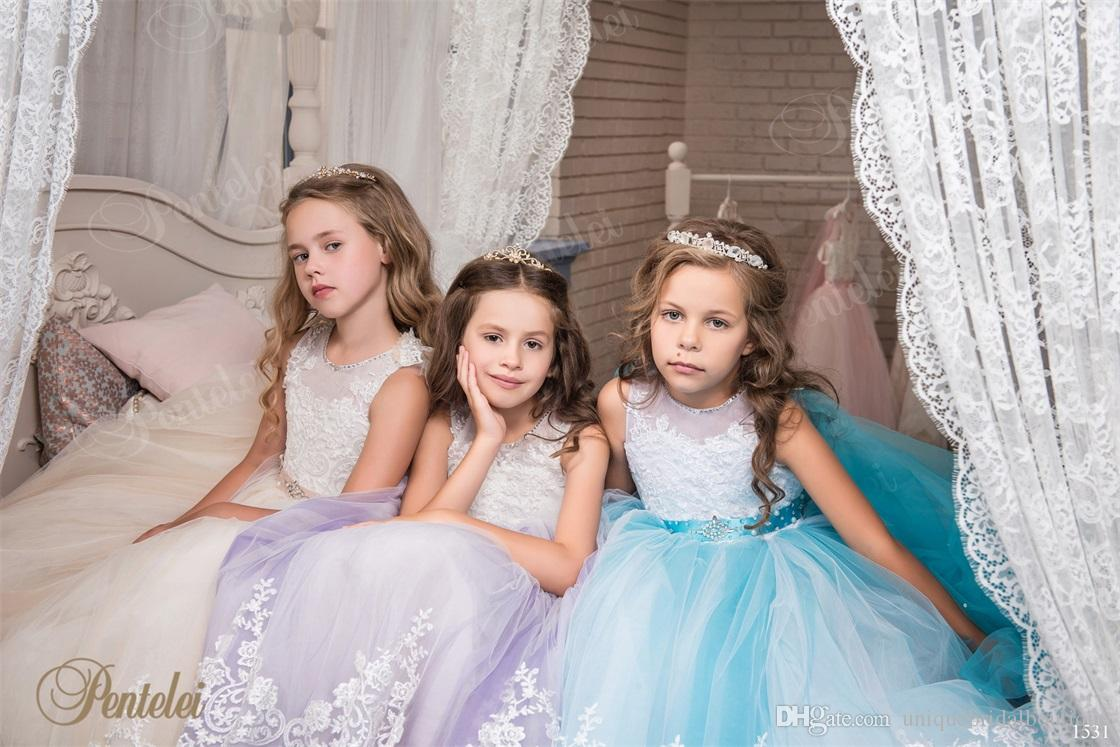 Pretty Flower Girls Dresses with Wraps and Sleeveless 2017 Pentelei Appliques Tulle Girls Prom Gowns Sky Blue Kids Evening Dresses